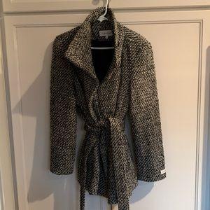 Calvin Klein Front Tie Wool Coat